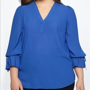 NWT Beauty in Blue ELOQUII Blouse with Tie Sleeve
